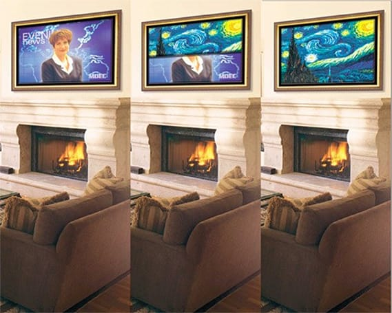 Stewart Filmscreen's Media D�cor covers your flat-panel with art