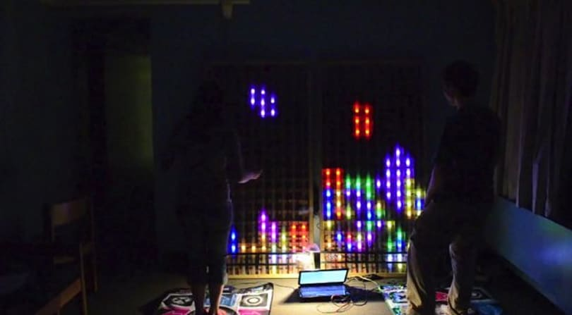 Tetris played on 6-foot LED matrix, controlled by DDR mat