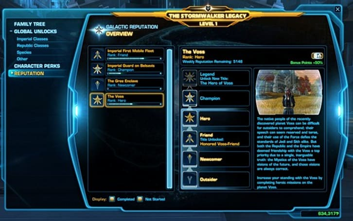 BioWare details SWTOR's Galactic Reputation system
