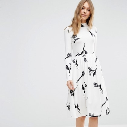 ASOS Midi Dress with High Neck in Cream Floral