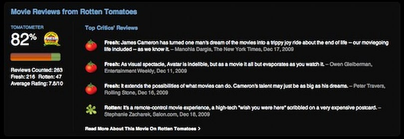 iTunes Store now shows Rotten Tomatoes Tomatometer reviews for movies