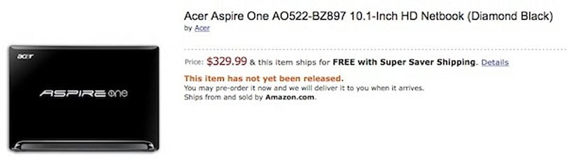 Acer Aspire One 522 with AMD Ontario shows up on Amazon