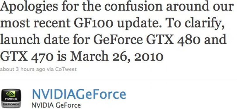 NVIDIA GeForce GTX 480 and GTX 470 Fermi cards launching March 26th