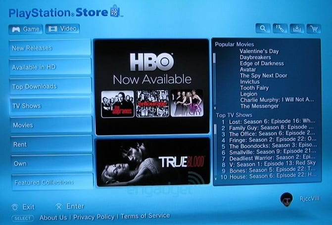 PlayStation Network adds HBO content before Zune / Xbox 360, follows iTunes pricing