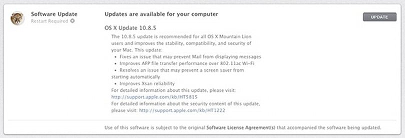Apple updates OS X to 10.8.5 with WiFi, Mail and screen saver fixes in tow