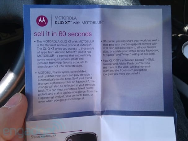 T-Mobile's CLIQ XT pamphlet out and about