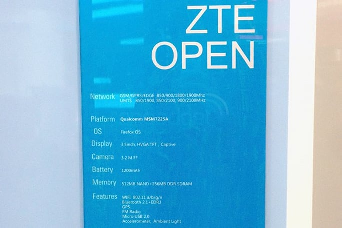 ZTE Open, the company's first Firefox OS phone, gets a spec sheet at MWC
