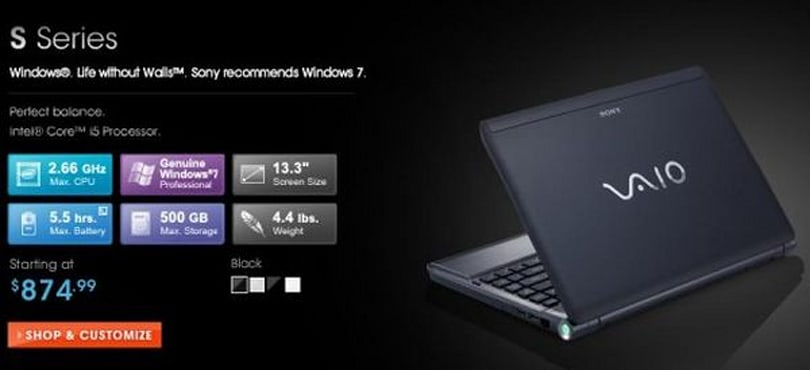 Sony delivers customizable VAIO S laptops, choices abound!