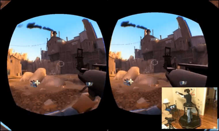 This is what playing TF2 with an Oculus Rift and an omni-directional treadmill looks like