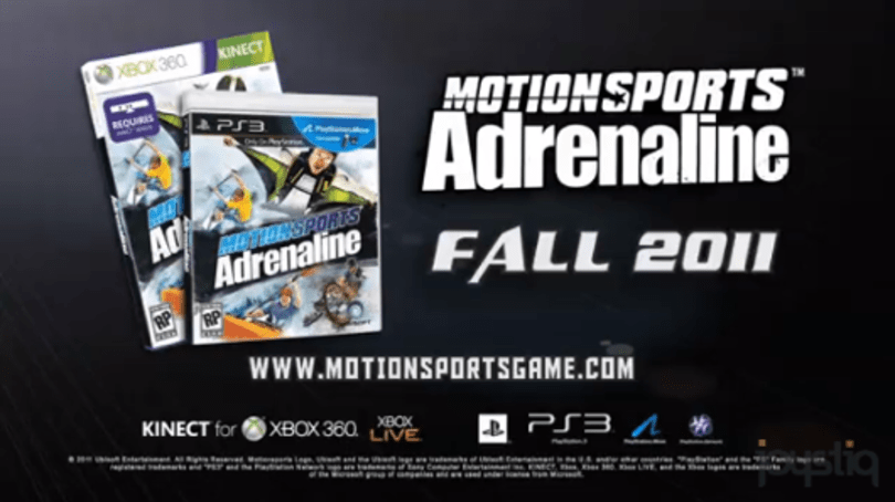 MotionSports Adrenaline trailer and screens tell you to go jump off a cliff