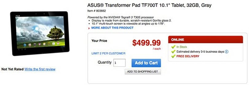 ASUS Transformer Prime TF700T showing 'in stock' at Office Depot, days before scheduled US release