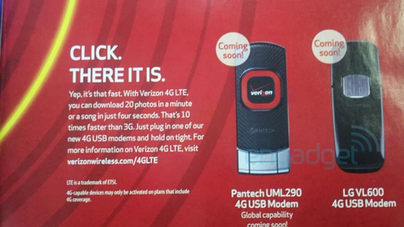Verizon's Pantech and LG LTE modems leak out in ad form
