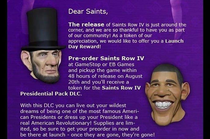 Saints Row 4 adds presidential pre-order bonus