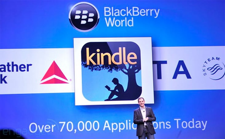 BlackBerry 10 reaches the 100,000 app mark, adds Amazon Kindle today