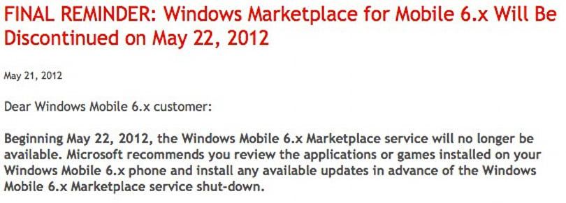 PSA: Marketplace for Windows Mobile 6.x shuts down today