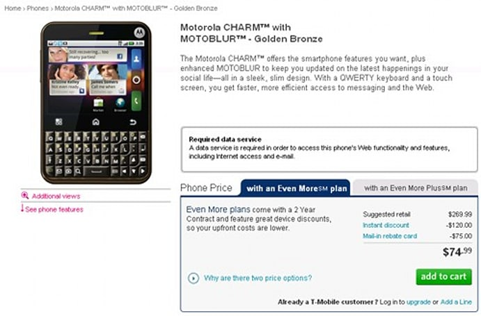 Motorola Charm up for grabs at T-Mobile today