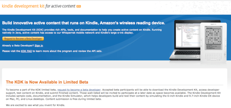 Kindle dev kit now rolling out in limited beta