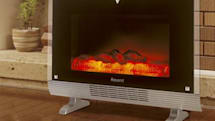 Household heater meshes with LCD, acts like a fireplace