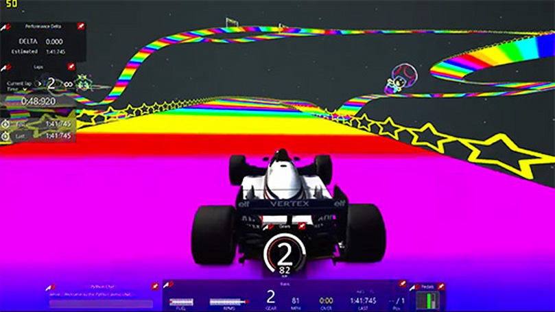 Realistic racer Assetto Corsa takes a lap on Rainbow Road