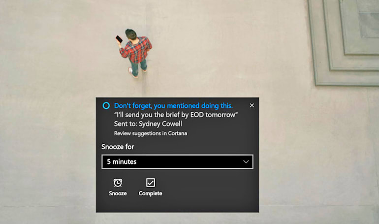 Cortana scans your emails to remind you about commitments