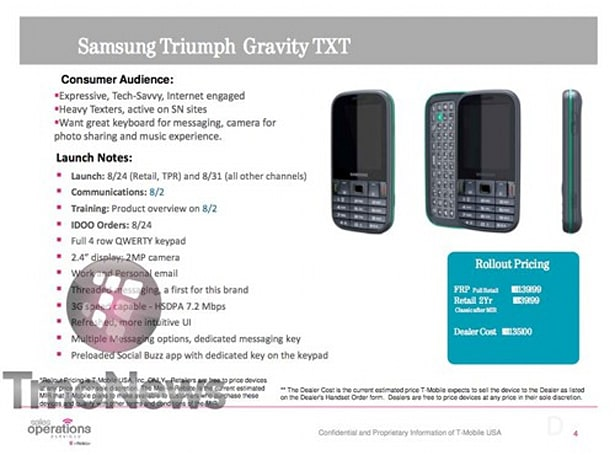 T-Mobile preps Samsung Gravity TXT for August 24th launch