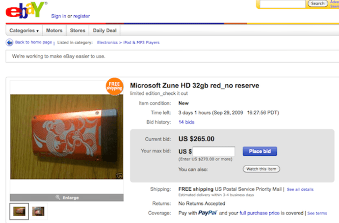 Atomic Zune HD explodes all over Ebay