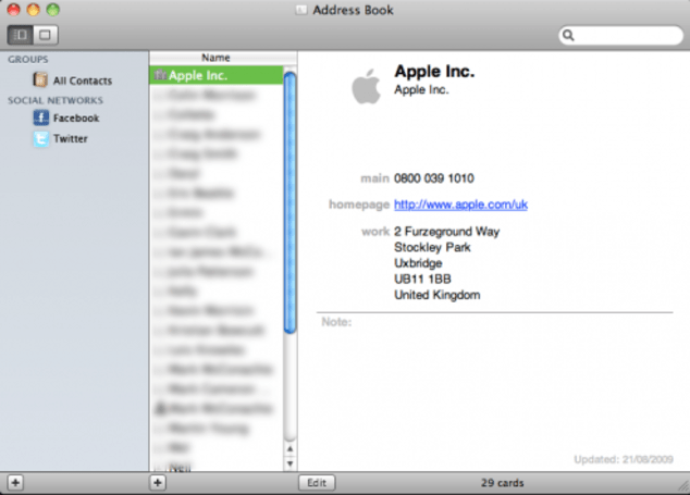 Apple's Address Book app getting social in 10.6?