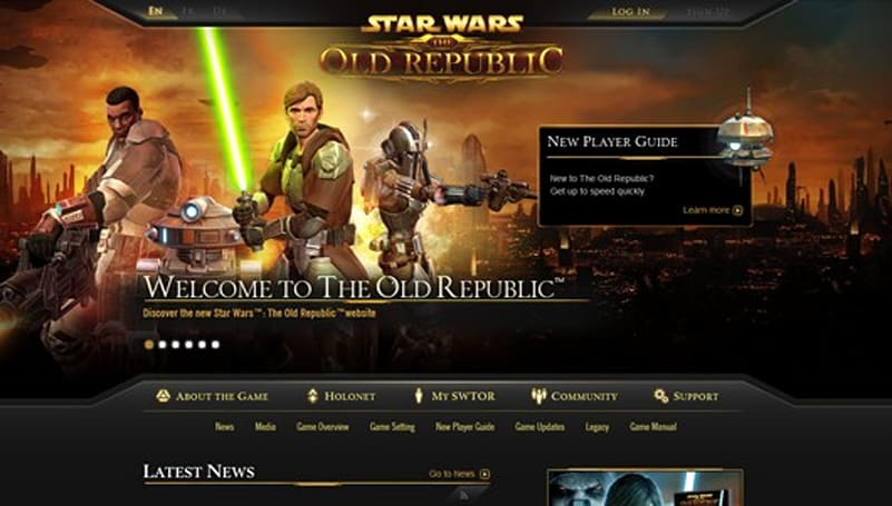 SWTOR's official website receives a facelift