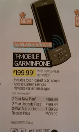 T-Mobile Garminfone looks confirmed for June 2 release