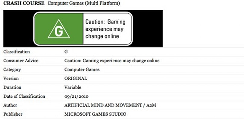 'Crash Course' from A2M outed by Australian classification board
