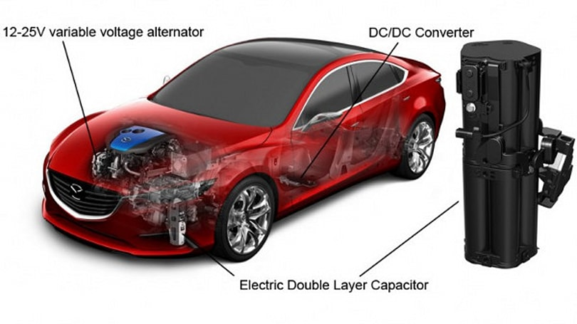 Mazda's i-ELOOP does regenerative braking with capacitors instead of batteries