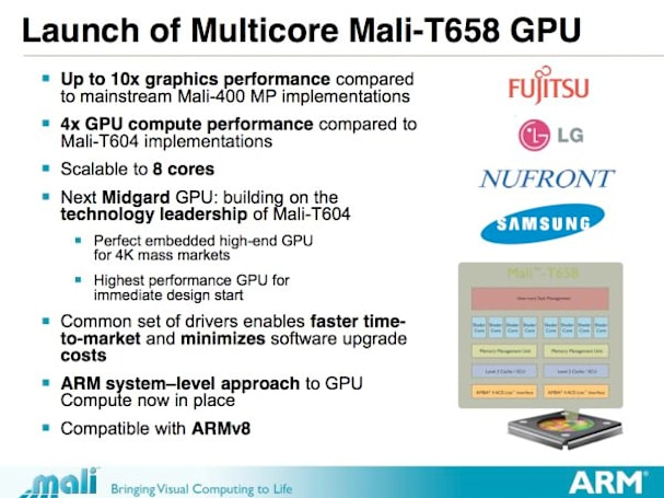 ARM's Mali-T658 GPU aims to beat the world in 2013; president Tudor Brown steps down