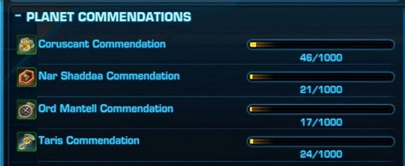 BioWare tweaking SWTOR commendations in new expansion