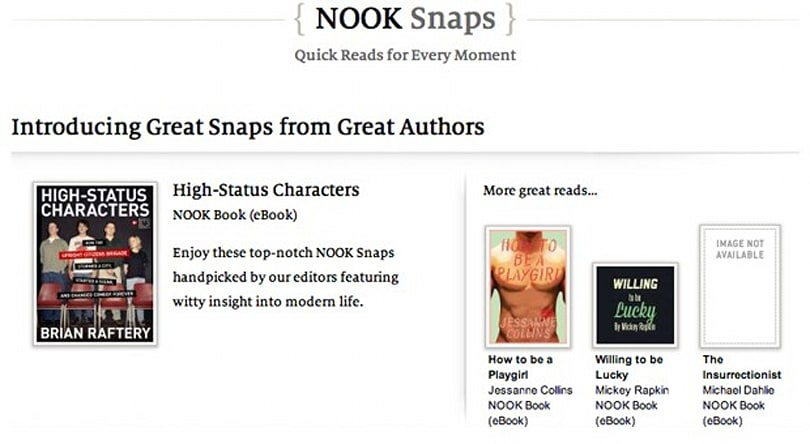 Barnes & Noble Nook Snaps offer fresh literature in $2 bites