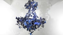 Solar-powered butterfly chandelier is a fluttering mass of art and light