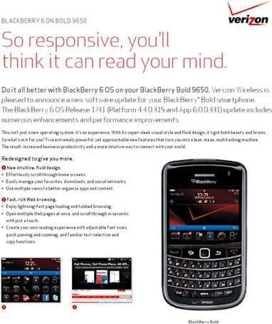Verizon offering BlackBerry 6 upgrades for Bold 9650 and Curve 3G tonight