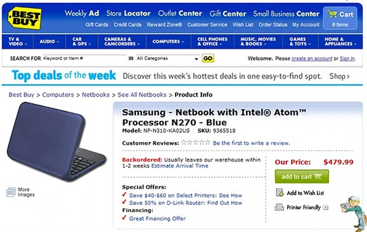 Samsung N310 now available to order in the US