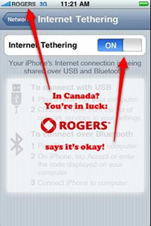 Rogers allows iPhone tethering in Canada for no extra charge until 2010