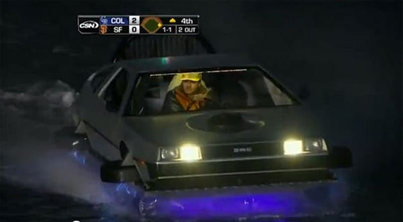 Visualized: DeLorean hovercraft cruises around McCovey Cove, wins the internet