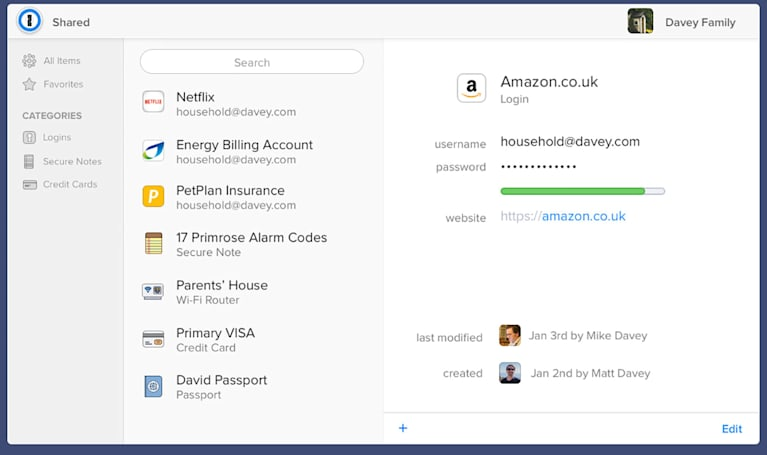 1Password's family plan manages log-ins for up to five people