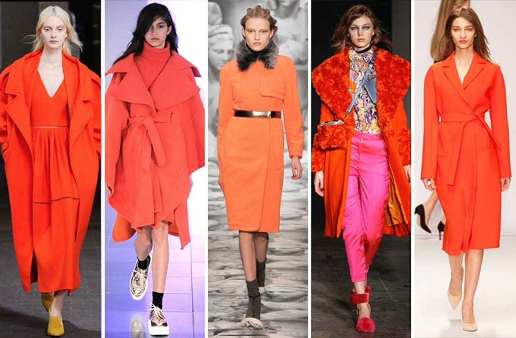 The coat trends continue in London, this time in bright orange
