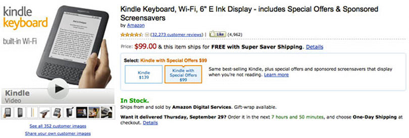 Amazon discounts 'original' 6-inch Kindle Keyboard: now starting at $99