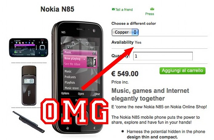 Nokia Italy lists N85 as in stock, legions of OLED fanatics cautiously optimistic