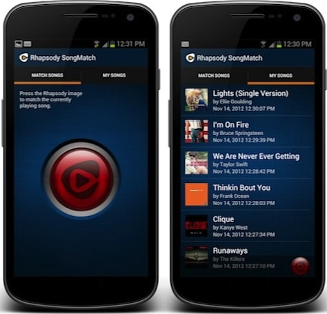 Rhapsody intros SongMatch for Android, helps you discover tunes with a simple tap