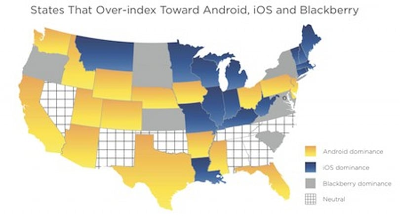US map shows which states trend toward iOS versus Android