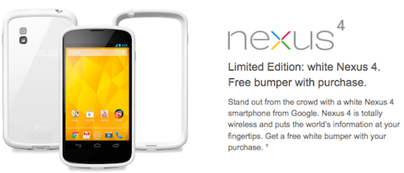 White Nexus 4 now available in US Google Play Store and T-Mobile (video)