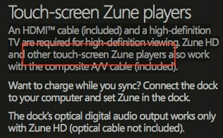 """Other touch-screen Zune players"" referenced in Zune HD manuals"