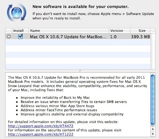Apple releases OS X 10.6.7 with fix for MacBook Pro display issues