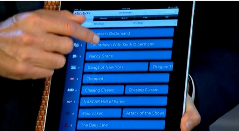 Comcast Xfinity iPad remote app changes channels and invites friends to watch RHONY