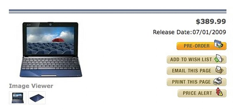 ASUS Eee PC Seashell 1005HA available for pre-order, shipping July 1st